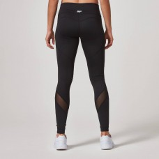 HEARTBEAT MESH FULL-LENGTH LEGGINGS - BLACK